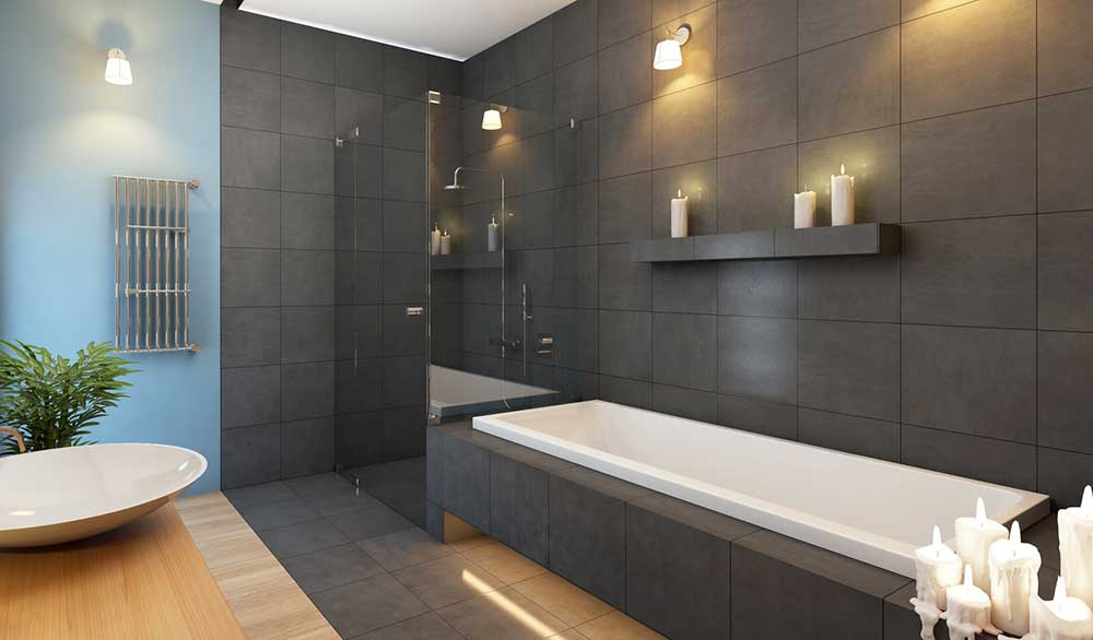 Feuille de pierre dans une salle de bain