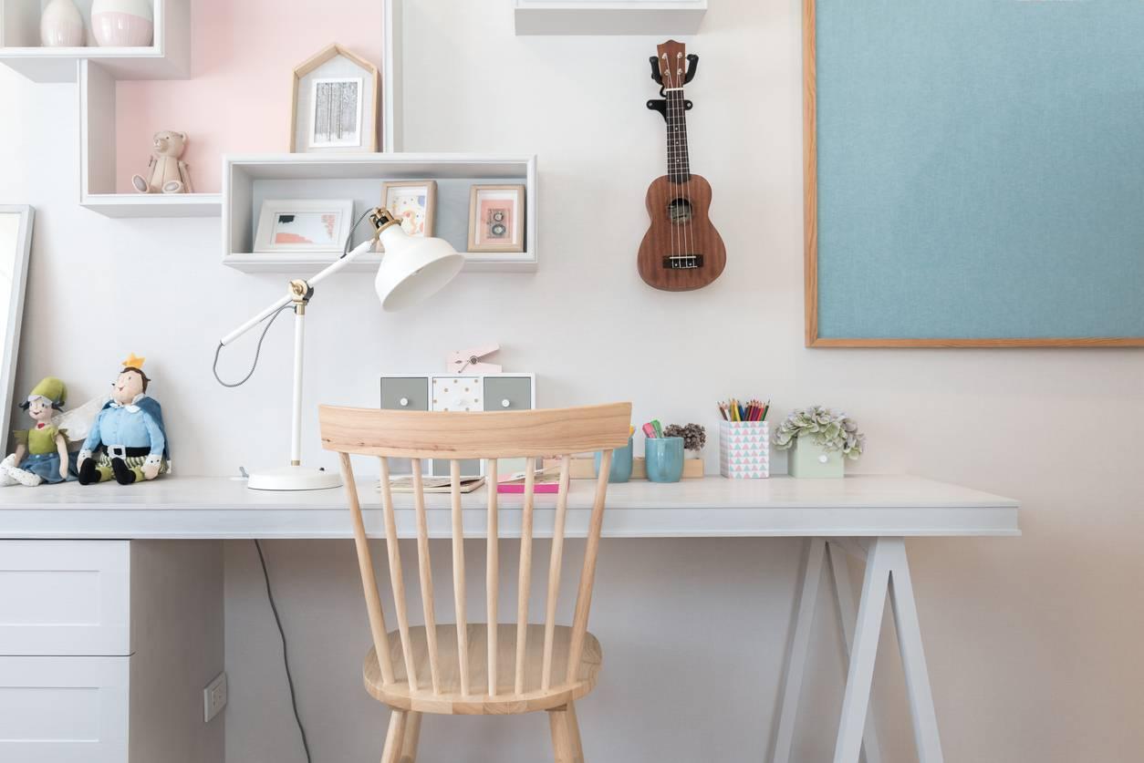 Décoration chambre enfant bureau couleur pastel